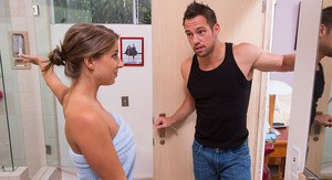 Presley Hart is horny for her friends husband so she fucks him in the bathroom.