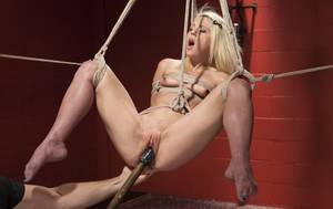 Cute little Holly Hanna has some sexy ass double A's on her. Double penetration, hard bondage, feet whipping, tight crotch rope