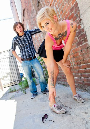 Inked blonde Kleio Valentien taking hardcore fucking of bald cunt outdoors