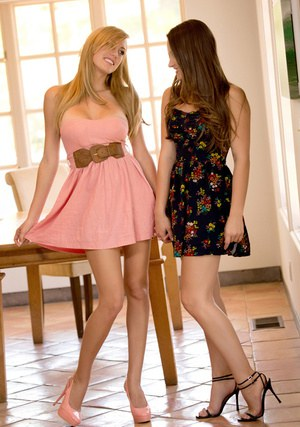 Lesbian Brett Rossi and girlfriend flaunt nice butts while licking pussies