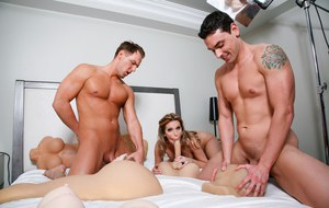 Busty MILF Courtney Cummz and Ryan Driller take turns abusing sex toys
