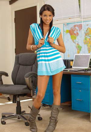 Raunchy petite cutie in a sexy dress Tanner undresses in the office