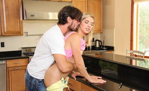 Lusty blonde looker Lia gets her hairy pussy fucked in the kitchen