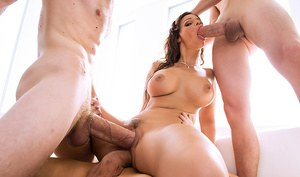 Syren De Mer is one of the horniest MILFs out there. This busty slut is so damn cock crazy that one dick isn't enough to satisfy her. In fact, not even two cocks can please this busty babe. That's why we sent Jessy Jones, Danny D, and Clover over to give