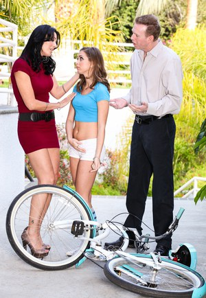 Clothed couple attempt to seduce young girl in shorts and socks for 3some