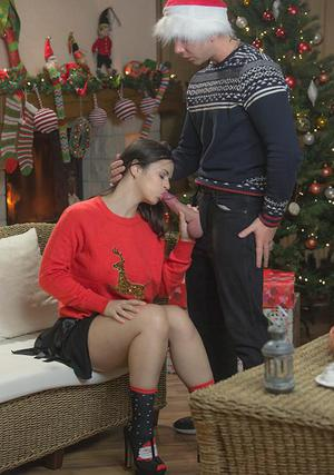 Leanna Sweet and hot girlfriend have threesome sex in socks at Christmas