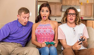 Jade Jantzen and her friend are at a party, but the guys seem to only be interested in playing video games rather than trying to score with the ladies. When Jade's friend leaves in frustration, this hot slut sees her opportunity to seduce two hard dicks f