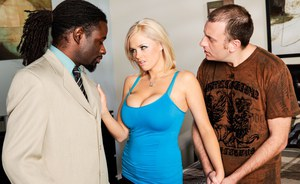 Fully clothed Katie Kox flaunts long legs and big tits in interracial scene