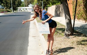 Skinny hitchhiker Rebel Lynn picked up on street and fucked hard
