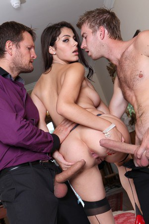 Hot pornstar Valentina Nappi gets DP wearing stockings in sexy 3some