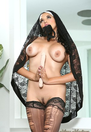 Hot Latina Missy Martinez in nuns costume masturbating pussy with dildo