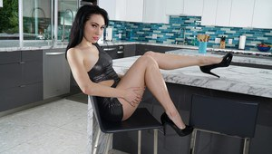 Seductive raven-haired chick Aria pleasures her wet pussy with toys