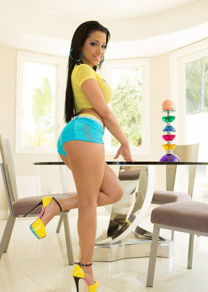 Sexy Latina Abella Anderson flaunting big tits and spreading legs wide open