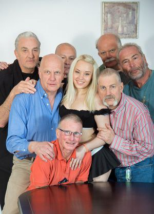 Good girl gone wild! Lolita Taylor gone crazy on a meeting of seven old men. Beautiful blonde girl felt arousal when she saw the 7 old men and wanted to feel their old dicks deep inside her nicely curved body so she strips in front of them in sexy maid un