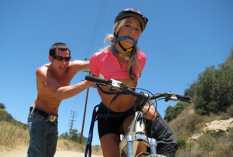 Fitness consort Kara Novack gets shaven vagina clapped hard-core in blazing bicycle Bdsm