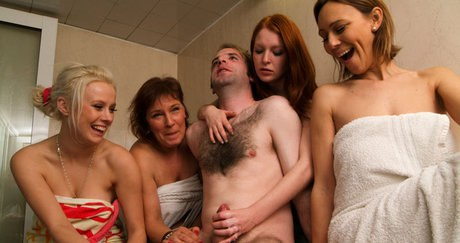 a unisex steam-room is a extraordinary place for acfnm handjob from four alluring madams