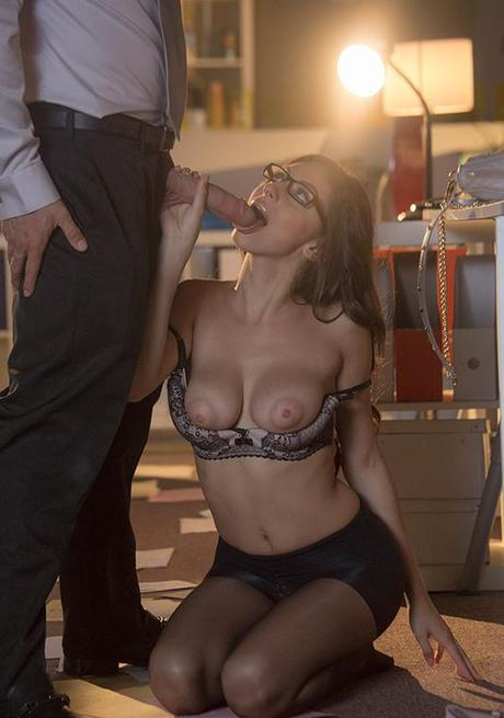 Derriere free stocking appareled Nina North slamming giant dick after hours in office