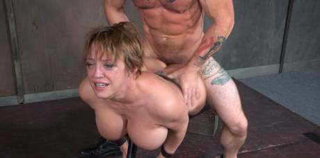 Voluptuous schoolgirl Dee Williams braves a stiff fucking and face copulating while bridled
