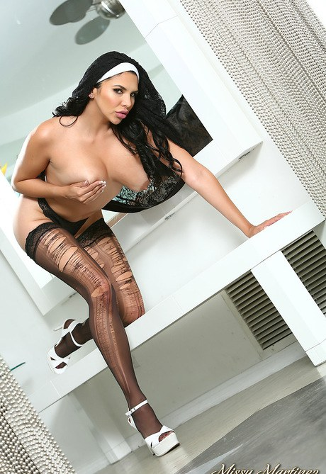 Neat Latina Nymph Martinez in nun's dress jerking-off beaver with toy