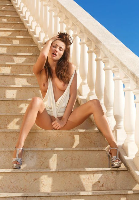 Attire clothed Michaela Isizzu giving undressed upskirt & spreading kitty in public
