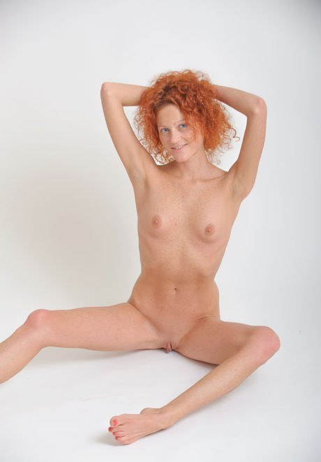 Native redheaded Natalie Red unearths off her bony body in birthday suit