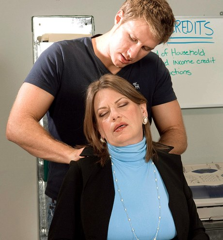 Suggestive mature stenographer Randi Layne took induced by her younger workmate