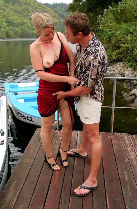 Golden-haired hardcore whores suck piston and sex cowgirl on a dinghy in rambunctious groupsex