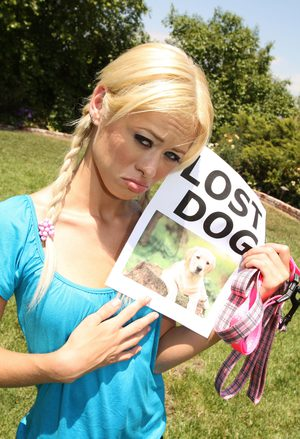 Blonde Rebecca Blue with pigtails looks for her lost dog and finds a hard cock