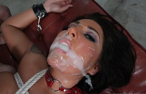 Stewardess Lizzy Styles swaps jizz loads after being bound and gagged