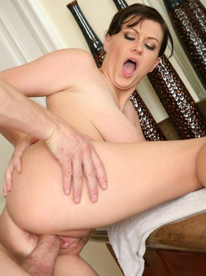 Big titted mom Sara Stone gets dicked hard after taking a shower