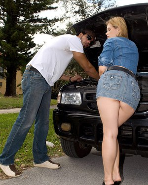 First timer makes her debut by paying her black mechanic off in sex