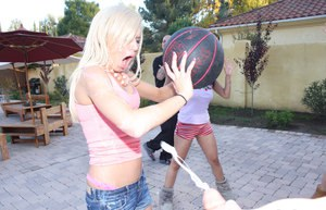 Tint titted Kacey Jordan baring hot ass on the patio  eating cum in hot 4some