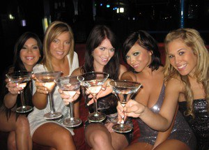 Wild housewives get together for a party and suck off a male stripper