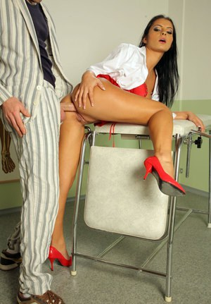 Beautiful female doctor gets licked and out and banged by a male patient