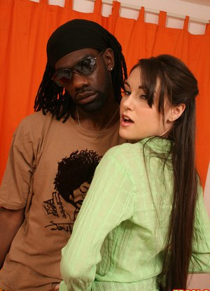 Young slut Sasha Grey disobeys her father and sucks off a BBC