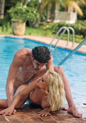 Skanky slut Britney stuffs her mouth with cock  fucks naked by the pool