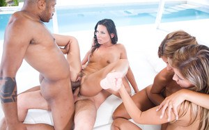 Three hot girls in high heels ride a single cock for a hot shared cumshot