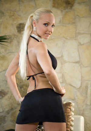 Blonde solo girl Victoria Kruz strips naked up against a pool table