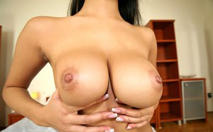 Hot Asian girl Sharon shows off her big tits before fucking doggystyle