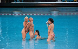3 hot girls doff their bikinis before fucking a single dude in and out of pool
