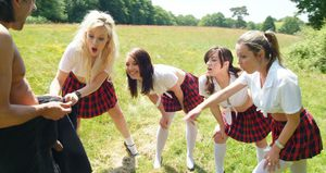 Group of schoolgirls find nude guy doing Tai Chi in woods and jerk him off