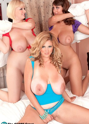 Fatty mature bosom buddies whip out their giant big tits & pose naked