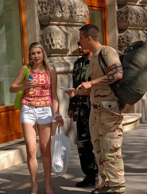Blonde Euro teen Sugar Baby taking anal and vaginal sex from 2 military men