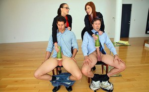 Secretary Chanel seduces boss  toys cock eating cum in CFNM reality groupsex