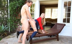 Schoolgirl in knee socks gets banged doggystyle by stepdad on the patio