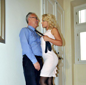 Young blonde girl takes an old mans cock in her tight pussy