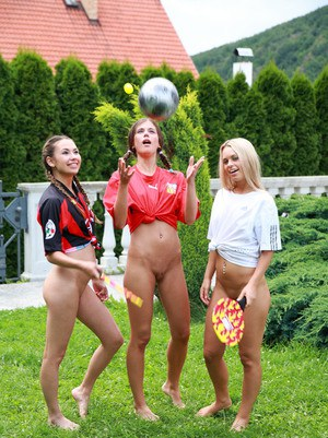 Schoolgirl Sabrina Blond and a couple of girlfriends go lesbian at the pool