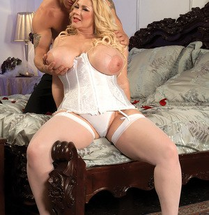 Blonde BBW with massive tits gets her big ass spanked while having sex