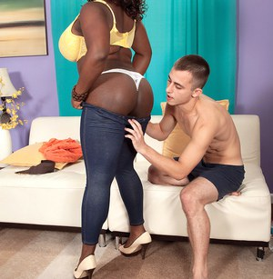 Busty ebony plumper gets her phat pussy hammered by white cock