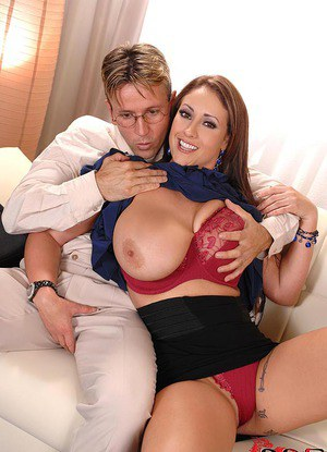 Eva Notty uses massive boobs to tit fuck cock before doggystyle sex